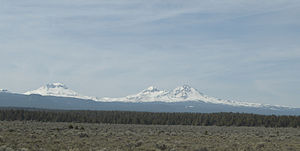 U.S. Route 20 in Oregon -  US 20 viewpoint of the Three Sisters mountains just east of the town of Sisters, Oregon