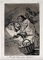 Three old hags surround a basket of new-born babies with bat Wellcome V0025830.jpg
