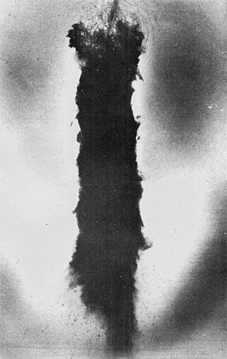 1968 Thule Air Base B-52 crash - Aerial photograph of blackened ice at the crash scene, with the point of impact at the top