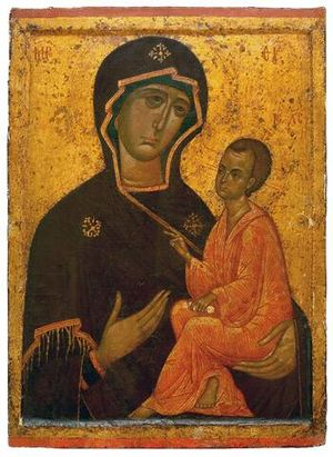 Iconography - The Theotokos of Tikhvin of ca. 1300, an example of the Hodegetria type of Madonna and Child.