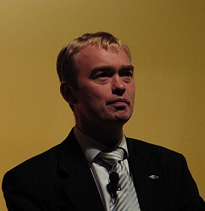 Tim Farron MP addressing a rally during the Li...