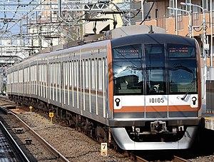 Tokyo Metro 10000 series - 10000 series set 10105 at Toritsu-daigaku station in March 2016