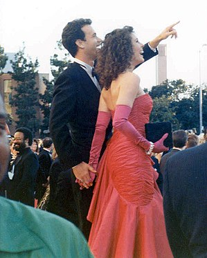 Tom Hanks and wife Rita Wilson on the red carp...