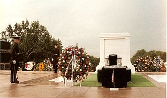 Tomb of the Unknown Soldier (Arlington) - The Tomb guards stood at death watch for the entire day as thousands of people braved the dreary weather to pay their respects.