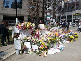 Toronto van attack - Memorial scene in Lastman Square, April 27, 2018