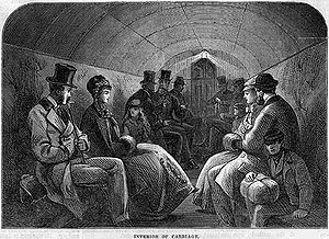 Tower Subway - Interior of the Tower Subway cable car, 1870