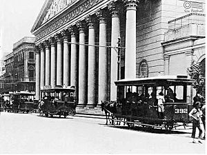 Trams in Buenos Aires - Horse-drawn trams in front of the Buenos Aires Metropolitan Cathedral.