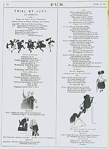 A page from a magazine with a short libretto in two columns, illustrated by quaint cartoons, which include a frieze of dancing lawyers and bailiffs.