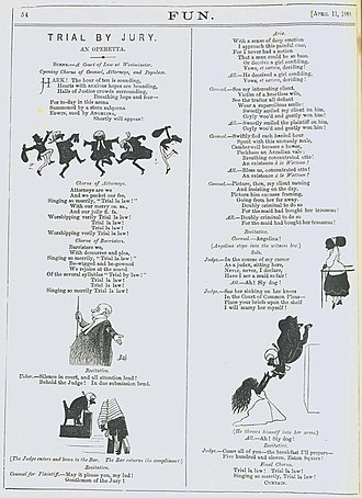 Trial by Jury - Gilbert's original sketch of Trial by Jury, published in Fun in 1868
