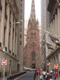 Trinity church from Wall Street.