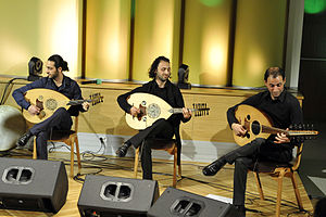 Le Trio Joubran - Palestinian Trio Joubran - brothers playing oud in concert at the Polish Radio studio in Warsaw, Poland - February 2013