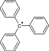 Kekulé, skeletal formula of the triphenylmethyl radical