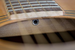 Truss rod - Adjustment bolt visible through the sound hole.