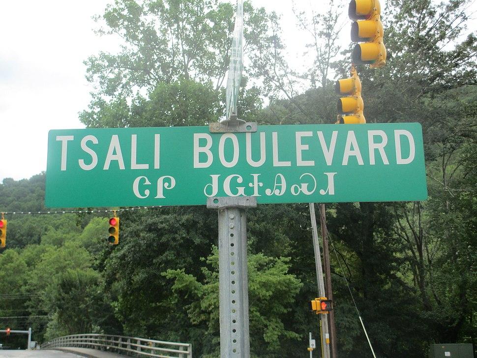 Tsali Boulevard sign, Cherokee, NC IMG 4880
