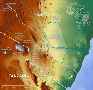 Lage des Tsavo-East-Nationalparks in Kenia