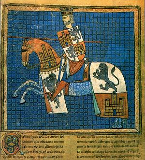 Alfonso X of Castile - Portrait of Alfonso X from the codex Tumbo 'A' de Santiago (Dated between 1129 and 1255)