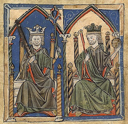 Medieval miniatures of Ferdinand II (left) and Alfonso IX (right), kings of Leon and Galicia. Chartulary of the monastery of Toxosoutos, Lousame, 13th century Reis de Galiza2.jpg