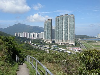 Tung Chung - View of Tung Chung from hiking trail, beside North Lantau Highway