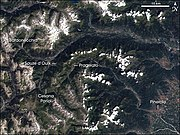 Landsat 7 image of the Italian Alps with some of the venues marked.