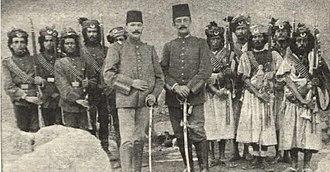 Yemen Vilayet - Turkish officers with Yemeni soldiers and militiamen prior to WW I