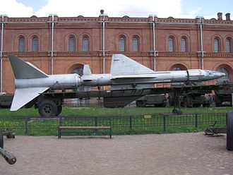 """S-200 (missile) - Two-stage V-400 (5V11) Angara missile of the Dal SAM system in Saint-Petersburg Artillery museum. This was given the name SA-5 """"Griffon"""" in the west, although it is unrelated to the """"Gammon""""."""