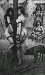 Two naked women tied to a pole in a native camp.png