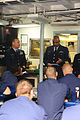 U.S. Coast Guard Chief Electrician's Mate Edward Jones, center, discusses recent sexual assault statistics while aboard the medium endurance cutter USCGC Valiant (WMEC 621) in Atlantic Beach, Fla., April 3 130403-G-OD102-009.jpg