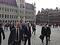 U.S. Secretary of State John Kerry and senior staff walk through the Grand Place in Brussels, Belgium. April 22, 2013.jpg