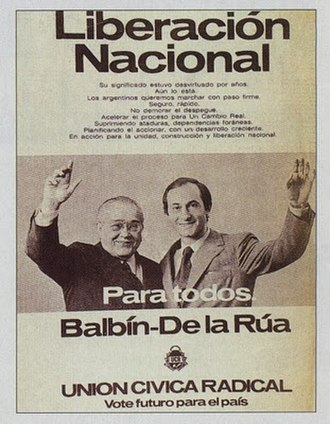 Fernando de la Rúa - Advertisement for the September 1973 general elections, for the Ricardo Balbín-Fernando de la Rúa ticket