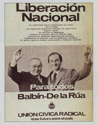 Fernando de la Rúa - Advertisement for the September 1973 general elections, for the Ricardo Balbín-Fernando de la Rúa ticket