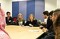 UK International Development Secretary, Penny Mordaunt (centre), meeting young Jordanian delegates at the Jordan Growth and Opportunity Conference, London, 28 February 2019 (47237697301).jpg