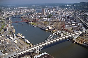 The Fremont Bridge across the Willamette River...
