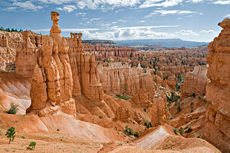 Pink Cliffs - One of the many hoodoo formations in the section of the Pink Cliffs that are located within Bryce Canyon National Park, July 2007