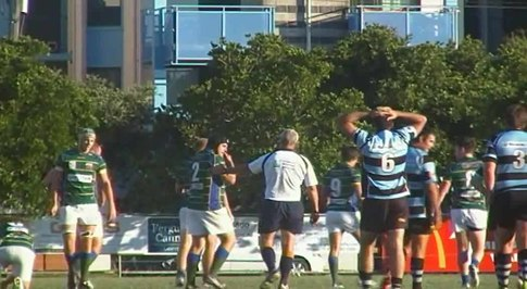 File:USC @ Maroochydore line out & penalty.ogv