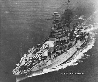 USS Arizona salvaged artifacts - Image: USS Arizona (BB 39) NH 57658