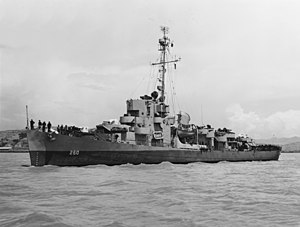 USS Cabana (DE-260) off the Mare Island Naval Shipyard on 18 May 1945 (NH 97447)