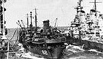 USS Cahaba (AO-82) fueling USS Iowa (BB-61) and USS Shangri-La (CV-38) in 1945.jpg