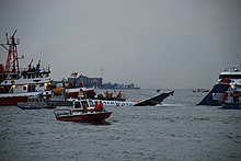 L'avion, au centre de l'image, à peine visible à mesure qu'il coule dans le fleuve, est entouré par plusieurs navires de secours.