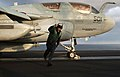 US Navy 030315-N-4953E-005 Aviation Boatswain's Mate 3rd Class James Jensen gives the 'thumbs up' signal to an EA-6B Prowler aircraft, indicating it is ready to be launched from the flight deck of USS Harry S. Truman (CVN 75).jpg
