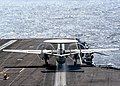 US Navy 040909-N-6495K-025 An E-2C Hawkeye assigned to Airborne Early Warning Squadron One Two Four (VAW-124) launches down the flight deck aboard the aircraft carrier USS Harry S. Truman (CVN 75).jpg