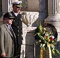 US Navy 060111-N-2736O-002 USS San Antonio Commanding Officer Capt. Jonathan M. Padfield, and Chairman of USS San Antonio Commissioning Committee Tres Kleberg, present a wreath to honor the men who gave their lives at the Alamo.jpg