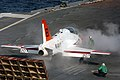 US Navy 061212-N-5248R-002 A T-45 Goshawk prepares to launch off of the flight deck of USS Theodore Roosevelt (CVN 71).jpg