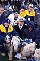 US Navy 071201-N-1134L-116 Chairman of the Joint Chiefs of Staff Adm. Mike Mullen poses with the Naval Academy mascots during the 108th annual Army-Navy game.jpg