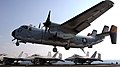 US Navy 071203-N-2844S-002 An E-2C Greyhound, attached to the Rawhides of Carrier Logistics Support Squadron (VRC) 40, makes an arrested landing aboard the flight deck of the Nimitz-class nuclear-powered aircraft carrier USS Ha.jpg