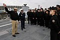 US Navy 081114-N-5758H-116 hief Fire Controlman Richard Fortenberry explain the capabilities of the littoral combat ship USS Freedom (LCS 1) to members of Cleveland High School Navy Junior Reserve Officers Training Corps..jpg