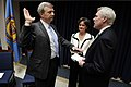 US Navy 100217-N-5549O-049 Secretary of the Navy (SECNAV) the Honorable Ray Mabus, right, administers the Oath of Office to Mark D. Clookie as director of the Naval Criminal Investigative Service.jpg