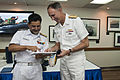 US Navy 110407-N-XXXXX-036 Indian navy Rear Adm. HCS Bisht, flag officer of Commanding Eastern Fleet, presents a gift to Vice Adm. Scott R. Van Bu.jpg