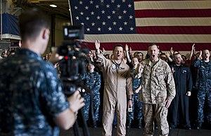 US Navy 120213-N-DX615-013 Capt. Jim Landers, commanding officer of the amphibious assault ship USS Makin Island (LHD 8), and Col. Michael Hudson,.jpg