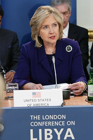The London meeting to discuss NATO military intervention in Libya, March 29, 2011 US Secretary of State at the London Conference on Libya (5570842641).jpg