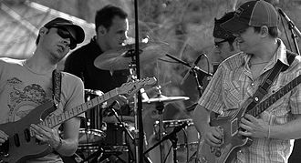 Umphrey's McGee - From left to right: Jake Cinninger, Kris Myers, Ryan Stasik and Brendan Bayliss performing in April 2007.